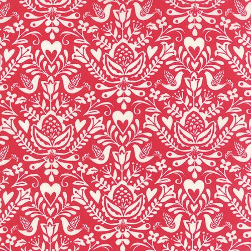 Moda - North Woods, Rosemaling Cranberry - Red Christmas Quilting Fabric
